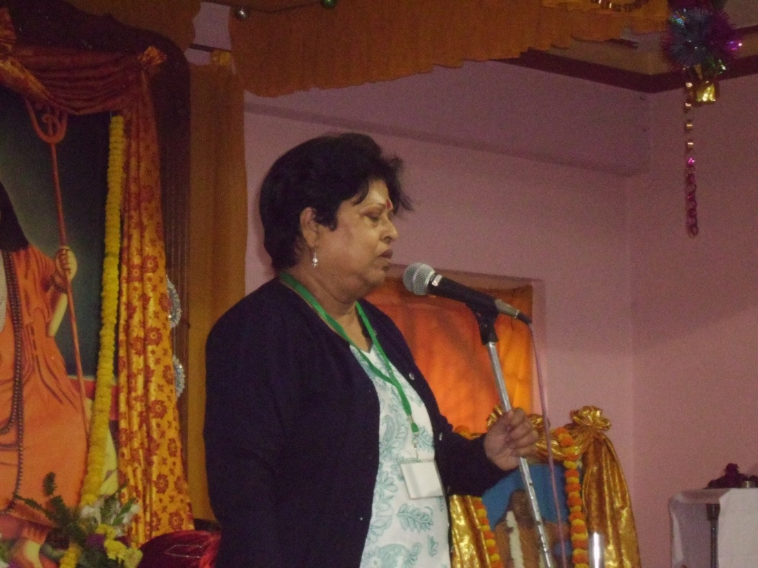 My mother at an event giving her first public speech ever.